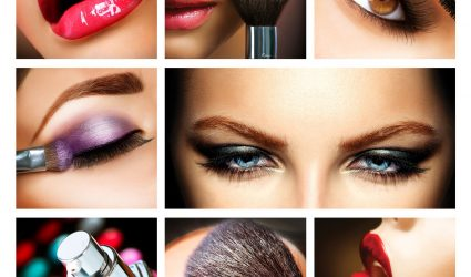 19562125 - makeup collage  professional make-up details  makeover